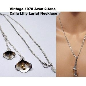 Vintage '78 Avon Calla 2-Tone Lily Lariat Necklace